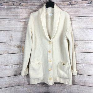 J. Jill Cream collard chunky cable knit Sweater